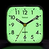Tinload Night Light Analog Alarm Clock Silent Non Ticking, Ascending Beep Sounds, Snooze, Manual Light, Battery Operated,Small (Black)