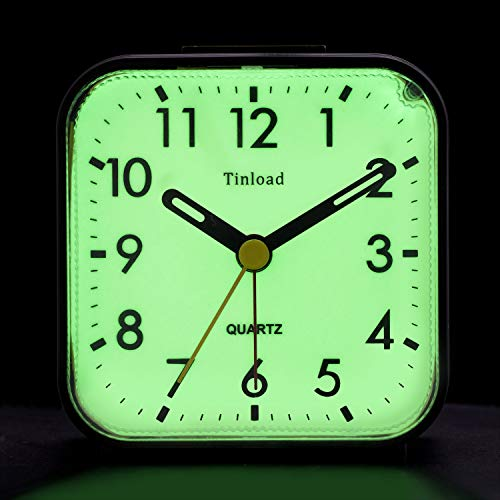 Tinload Night Light Analog Alarm Clock Silent Non Ticking, Ascending Beep Sounds, Snooze, Manual Light, Battery Operated,Small (Black) (Fluorescent Alarm Clock)