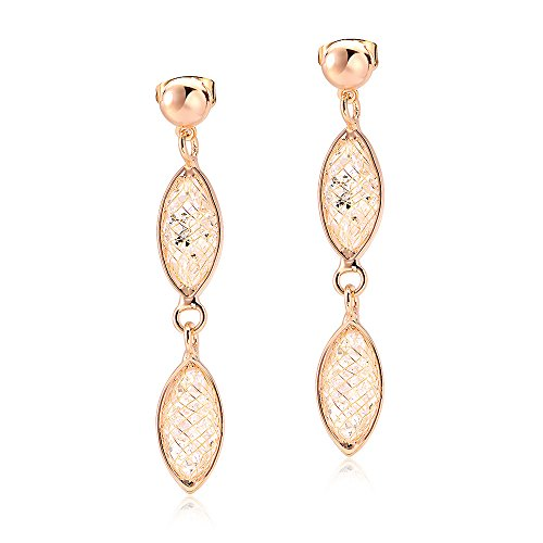 Fashion Drop Earrings Mytys 18K Rose Gold Caged Wire Crystal Tube Dangle Earrings