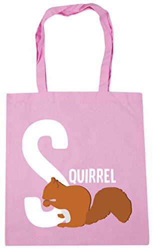 HippoWarehouse 42cm x38cm is animal Gym Tote for Pink alphabet Classic S 10 Shopping Bag squirrel litres Beach rPgxqwrH7