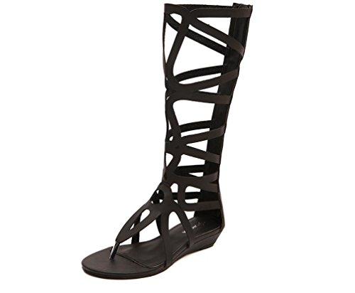 YCMDM Donne Hollow Stivali CALDI neri romani stile bovino Skin sandali 39 36 35 38 37 40 , black , 37