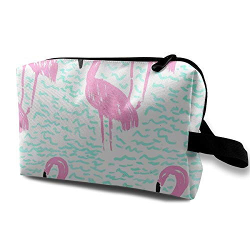 With Wristlet Cosmetic Bags Pink Flamingos Travel Portable Makeup Bag Zipper Wallet Hangbag -