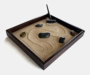 Awesome Tabletop Mini Zen Garden   Miniature Square Zen Garden Espresso Brown  Handmade