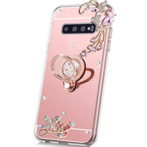 S10 Cases Bags - PHEZEN Case for Samsung Galaxy S10 Mirror Case,Bling Glitter Flowers Sparkle Rhinestone Mirror Back TPU Silicone Case Cover with Ring Kickstand Diamond Crystal Case for Galaxy S10,Rose Gold