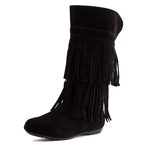 Kali Girls 2 Layer Fringe Faux Suede Boots, Black, 11 M US Little Kid