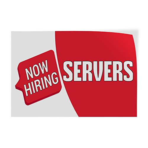 Decal Sticker Multiple Sizes Now Hiring Servers Business Now Hiring Servers Outdoor Store Sign Red - 52inx34in, Set of 5 ()