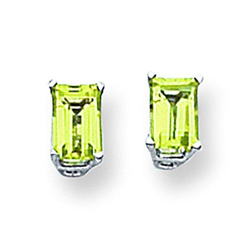 14K White Gold 6.00 X 4.00MM Emerald-Cut Peridot Stud ()