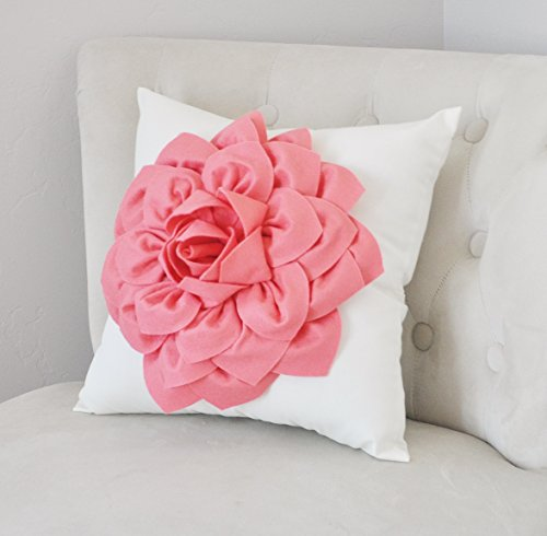 Coral Dahlia Flower on White Pillow, Nursery Decor, Home Decor