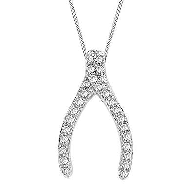 Carissima gold 9ct white gold 025ct diamond wishbone pendant on carissima gold 9ct white gold 025ct diamond wishbone pendant on curb chain necklace of 46cm aloadofball Image collections