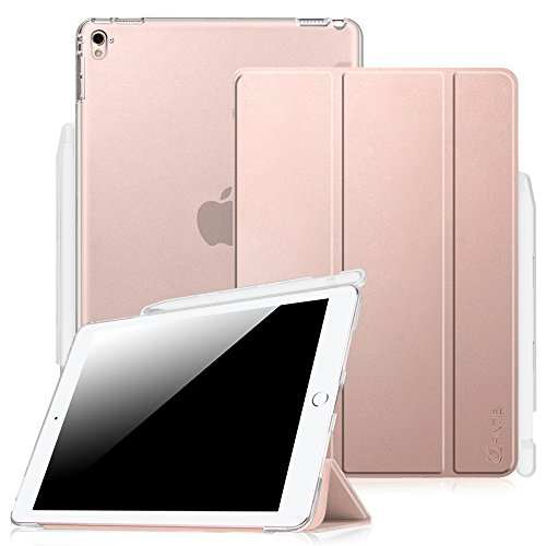 Fintie iPad Pro 9.7 Case with Built-in Apple Pencil Holder - Slim Shell Standing Cover with Translucent Frosted Back Protector Auto Wake/Sleep for Apple iPad Pro 9.7 Inch 2016 Version, Rose Gold