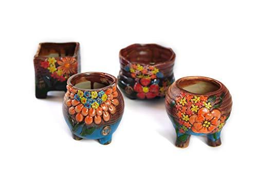 MZ Gardens Decorative Glazed Ceramic Succulent Planters / Flower Pots Containers 4 in 1 Set with BONUS - Pots Painted Plant
