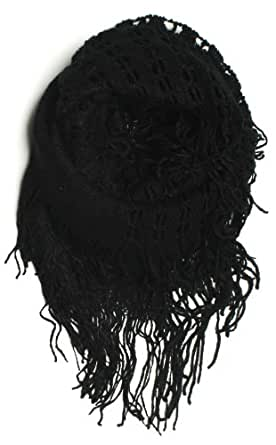 DRY77 Fashion 2-Tone (Solid and Net Pattern) Knitted Loop Infinity Scarf, Black Black