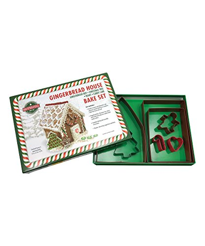 R&M International 2090 Gingerbread House 7-Piece Cookie Cutter and Baking Set with Recipe and Directions (House Gingerbread Mold)