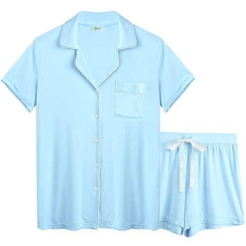 Joyaria Womens Soft Bamboo Pajama Sets Button Front Pjs Short Sleeve Shorts Sleepwear Plus Size (Light Blue, XXL)