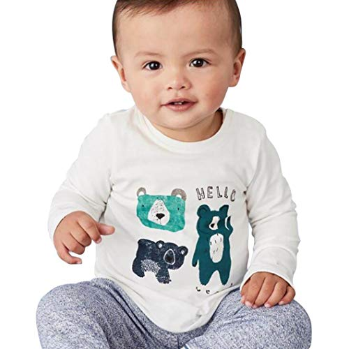 Toddler Kids Baby Girls Boys Soft Cotton Cartoon Animal Tops, Long Sleeve Crewneck Pullover Striped Tee Shirt 1-6T (White, 3T(2-3 Years))