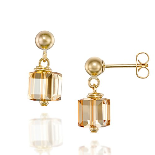 14k Gold Filled Square Cube Post Earrings Made with Original Swarovski Golden Shadow Crystal (14k 6 Mm Cube)