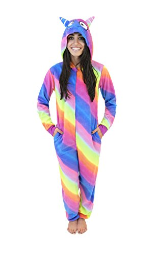 Body Candy Micro Fleece Women's Onesie Pajamas with Creature Hoods Silly Monster, Rainbow Stripe, X-Large