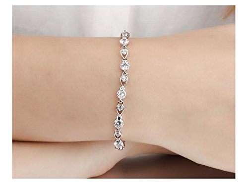Stainless Steel Swarovski Elements Cubic Zirconia Bracelet with Extended Chain for Women 6.8+1.2'' by LOHOME (Image #6)