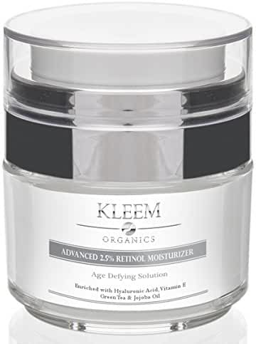 Anti Aging Retinol Moisturizer Cream for Face and Eye Area with Hyaluronic Acid & Green Tea. Best Day and Night Anti Wrinkle Cream for Women and Men - Results in 5 Weeks Guaranteed