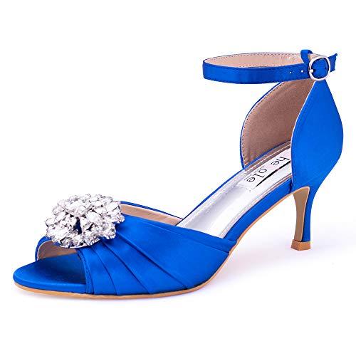 SheSole Women's Royal Blue Dress Shoes Wedding Low Heels Sandals Open Toe Pumps Rhinestones US Size 8