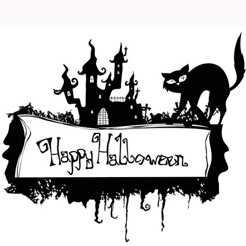 Leewos Happy Halloween! Wallpaper, Black Cat Letters Printed Wall Stickers Party Home Decor Mural Decals 67cm X 58cm (Black) ()