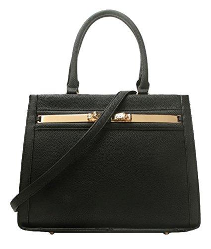 Negro Para Handbags Mujer Bolso Material Asas Sintético De Girly p7ZnW7