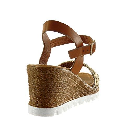 Angkorly - Chaussure Mode Sandale Mule plateforme semelle basket femme lanière tréssé strass diamant Talon compensé plateforme 7 CM - Camel