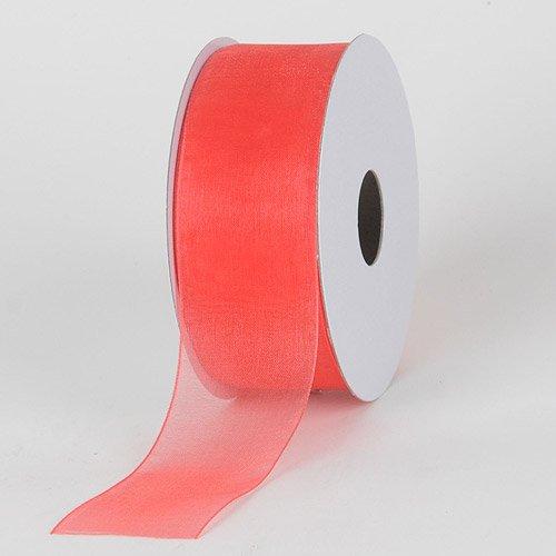 BBCrafts Coral Sheer Organza Ribbon 1-1/2 inch 100 Yards