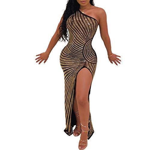 Women's Sexy Sheer Mesh See Through Rhinestone One Shoulder Split Bodycon Evening Cocktail Maxi Long Dress Black L