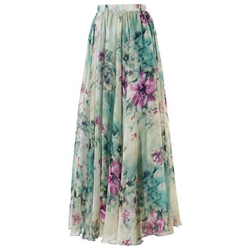 c38fba65 delicate Innerger Women's Chiffon Boho Floral Print High Waist Beach Long  Maxi Skirt