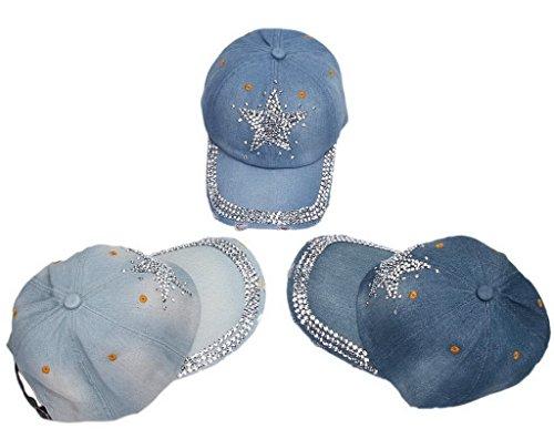 (ビグッド)Bigood キャップ カジュアルキャップ ベースボールキャップ 野球帽 ダメージ加工 星柄ラインストーン アウトドア帽子 メンズ レディース兼用