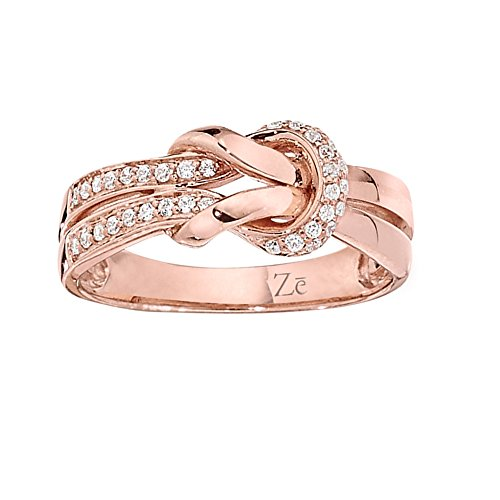 ZE 10k Rose Gold Diamond Twist Knot Ring. Finger Size 8 ()