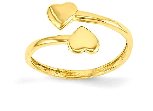 ICE CARATS 14k Yellow Gold Double Heart Adjustable Cute Toe Ring Set Fine Jewelry Gift Set For Women Heart by ICE CARATS