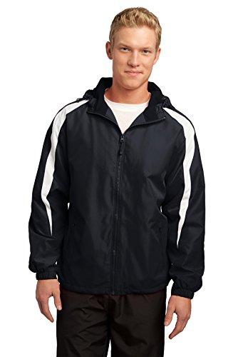 (Sport-Tek Men's Fleece Lined Colorblock Jacket XL Black/White)