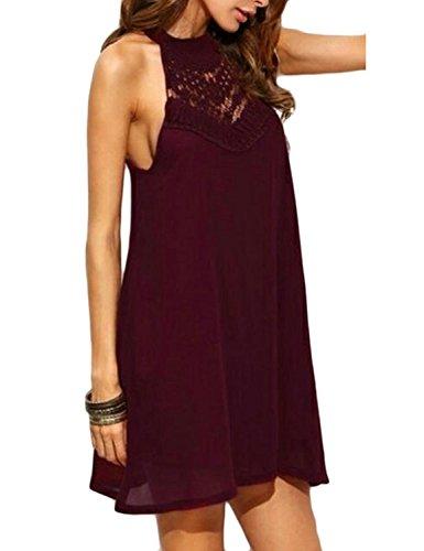 Halter Tank Red Dresses Womens Chiffon Sweetnight T Dress Shirt Wine Neck Tunic 5RXWqw