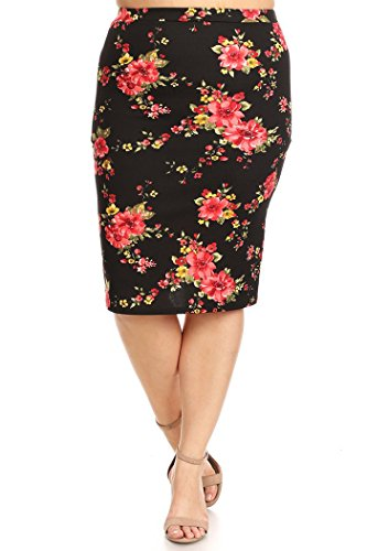 Pleated Pocket Pencil Skirt (Women's Plus Size Printed Pencil Skirt MADE IN USA (2X, Black/Red Yellow Floral))