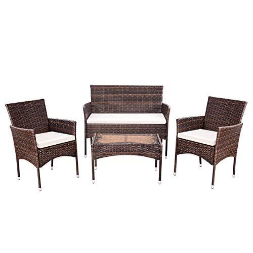 Rattan Coffee Table Dubai: TANGKULA 4 Pcs Wicker Furniture Set Outdoor Patio
