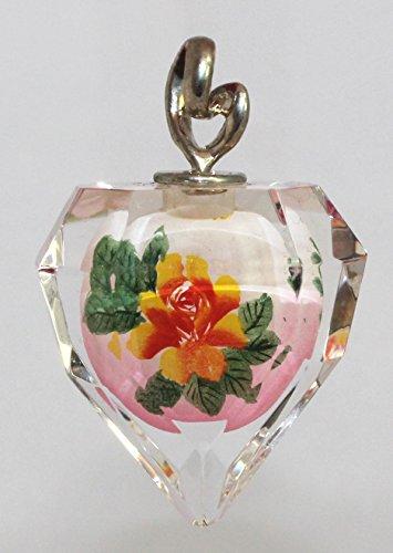 Orange & Pink Flower Double-Sided Art Glass Crystal Pendant, Ornament, Suncatcher