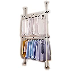 Portable Indoor Garment Rack Tools-free DIY Coat Hanger Clothes Wardrobe 2 Poles 2 Bars. Heavy Duty Stainless Steel Poles and Bars. 60kg Loading per Horizontal Bar. Free 105cm Reach Hook Included.Space Fit and Saver.