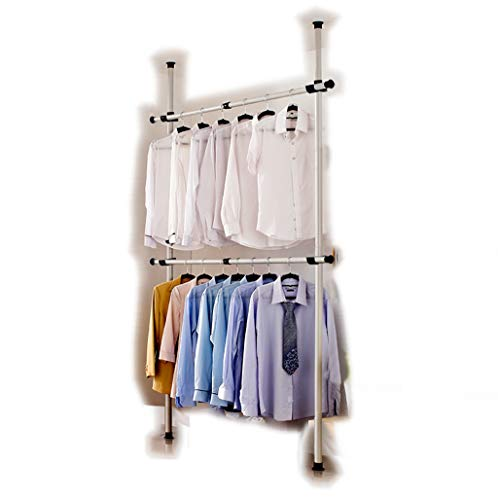 Portable Indoor Garment Rack Tools-free DIY Coat Hanger Clothes Wardrobe 2 Poles 2 Bars. Heavy Duty Stainless Steel Poles and Bars. 60kg Loading per Horizontal Bar. Free 105cm Reach Hook Included.Space Fit and Saver. by GoldCart (Image #6)
