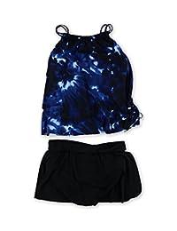 Magicsuit Womens Tie-Dye Skirtini 2 Piece Tankini Blueblack 8