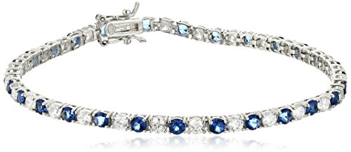 (Sterling Silver Alternating Sapphire and White Prong Set AAA Cubic Zirconia Tennis Bracelet, 7.5