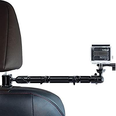 Headrest Mount for GoPro, Tackform DrivePro Best Car Mount for GoPro for Recording Racing Video [SUPER RIGID DESIGN] No Shake, No Rattle, Works with ALL GoPro Versions and ALL Action Cameras