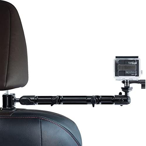 Action Camera Headrest Mount - Tackform DrivePro Best Car Mount for Recording Racing Video [Super Rigid Design] No Shake