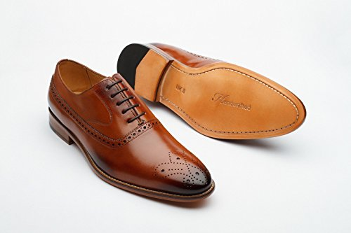 Handcrafted Leather Men's Wingtip Brogue Oxford Leather Lined Dress Shoes