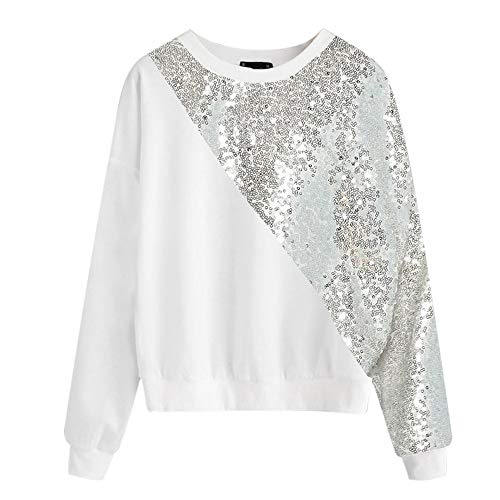 Vickyleb Women Shirts Blings Sequins Long Sleeve Pullover Color Block O-Neck Patchwork Tops Blouse Sweatshirt White by Vickyleb Womens Tops (Image #5)