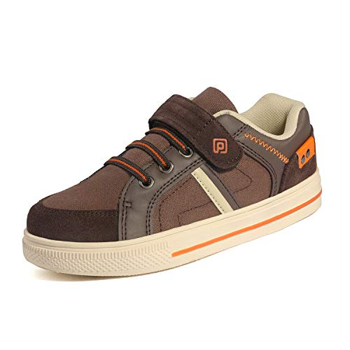 Brown Boys Sneakers - DREAM PAIRS Little Kid Boys' 151014-K Brown Orange School Loafers Sneakers Shoes Size 12 M US Little Kid