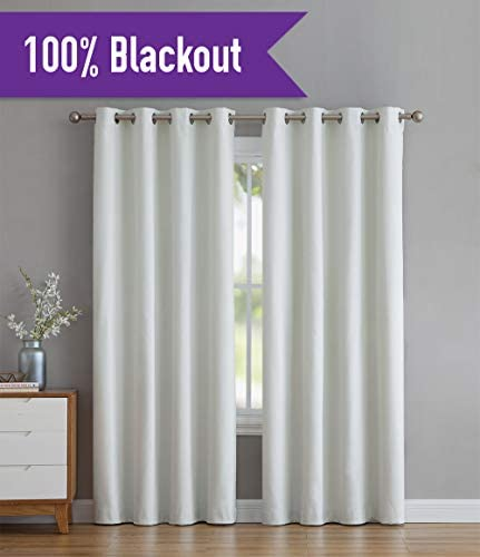 HLC.ME Textured 100 Blackout Room Darkening Thermal Insulated Curtain Grommet Panels for Living Room – Energy Efficient, Complete Darkness, Noise Reducing – Set of 2 52 W x 96 L, Ivory
