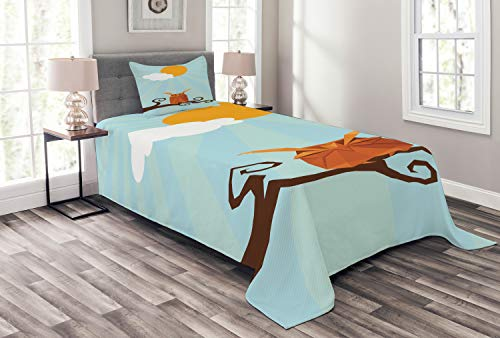 (Ambesonne Owl Print Bedspread, Sleepy Bird on Swirling Branch at Sunny Day on Pastel Sunburst, Decorative Quilted 2 Piece Coverlet Set with Pillow Sham, Twin Size, Multicolor)