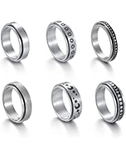 T.Y.G.F 6 Stks Spinner Ringen voor Vrouwen Fidget Band Ringen Set Dots Maan Ster Zand Blast Finish Womens Ring Meditatie Ringen Stress Verlichten Ringen Gift voor Vrouwen Mannen
